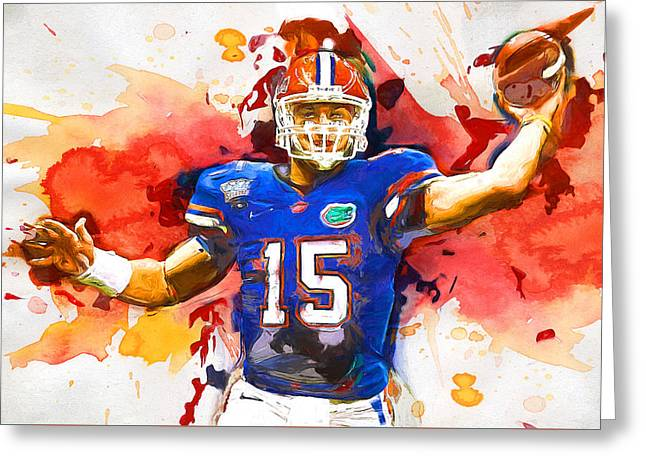 Tebow Splash Td Greeting Card by John Farr