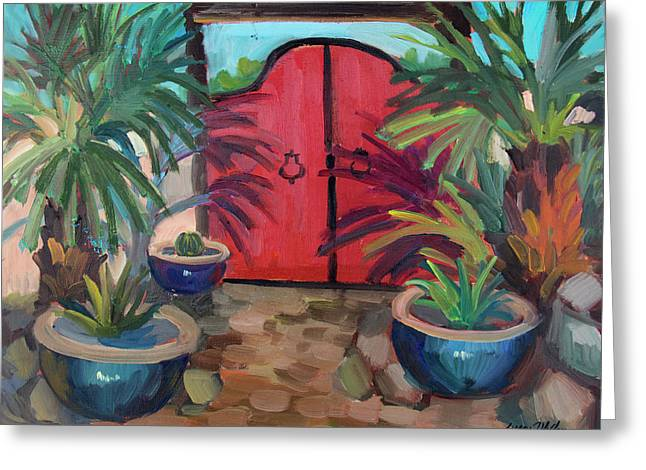 Greeting Card featuring the painting Tecate Garden Gate by Diane McClary