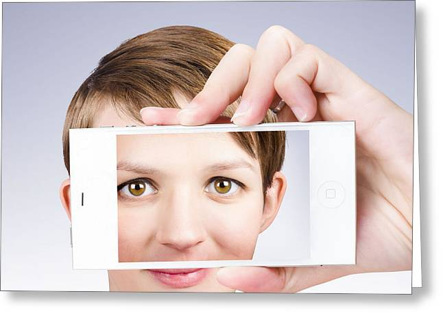 Tech Smart Woman Taking A Photo With Mobile Phone Greeting Card by Jorgo Photography - Wall Art Gallery