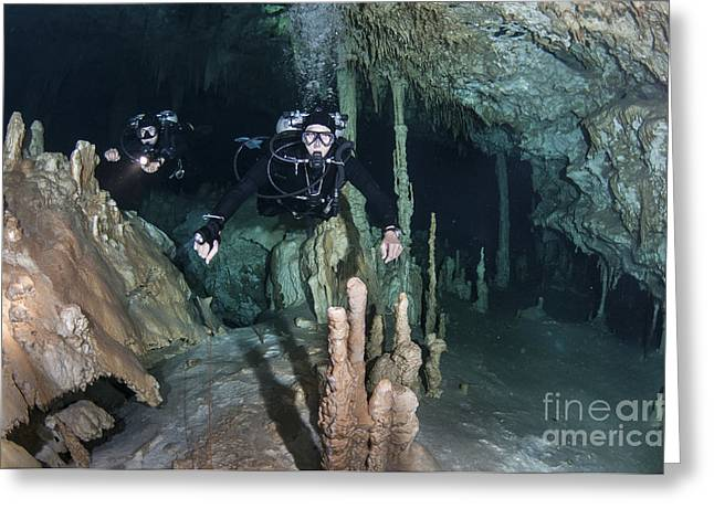 Technical Divers In Dreamgate Cave Greeting Card by Karen Doody