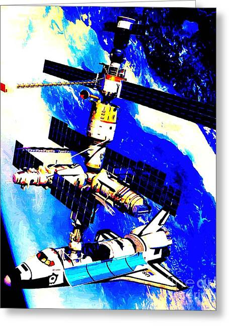 Technical Rendition Of The Space Shuttle Atlantis Docked To The Kristall Module Of The Russian Mir  Greeting Card by Art Gallery