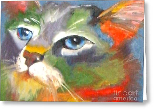Technicolor Tabby Greeting Card by Susan A Becker