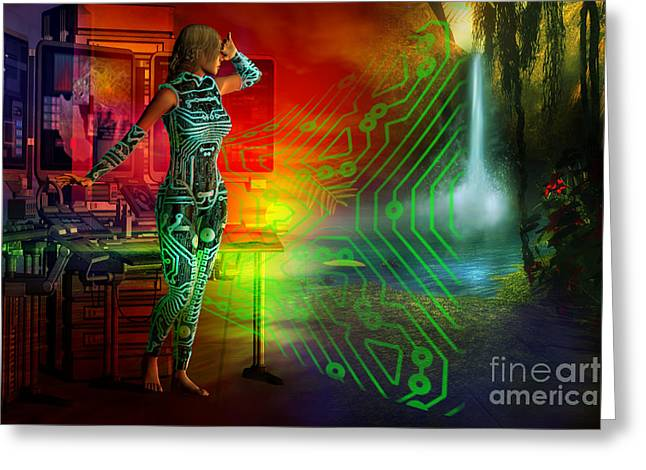 Greeting Card featuring the digital art Techno Future by Shadowlea Is