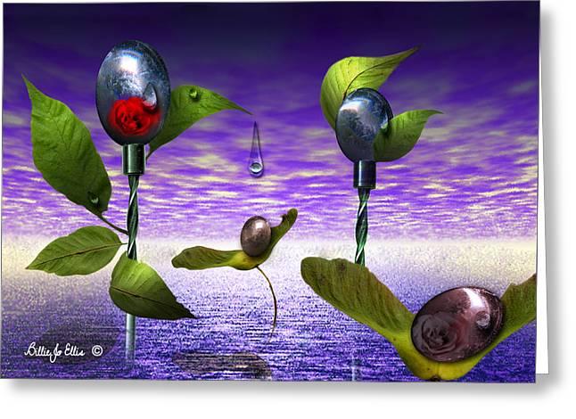 Techno Nature - Flower Drills Greeting Card by Billie Jo Ellis