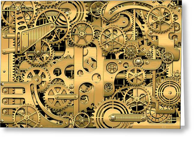 Techno Worlds - Complexity And Complications - Clockwork Gold Greeting Card by Serge Averbukh