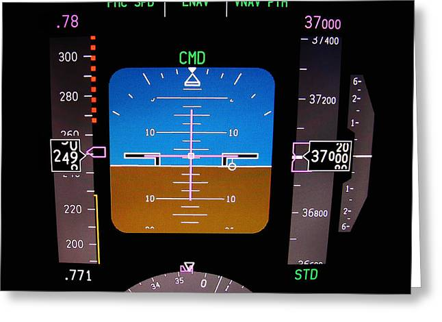 737 Greeting Cards - Technology. Aircraft flight deck at 37000 ft. Greeting Card by Fernando Barozza