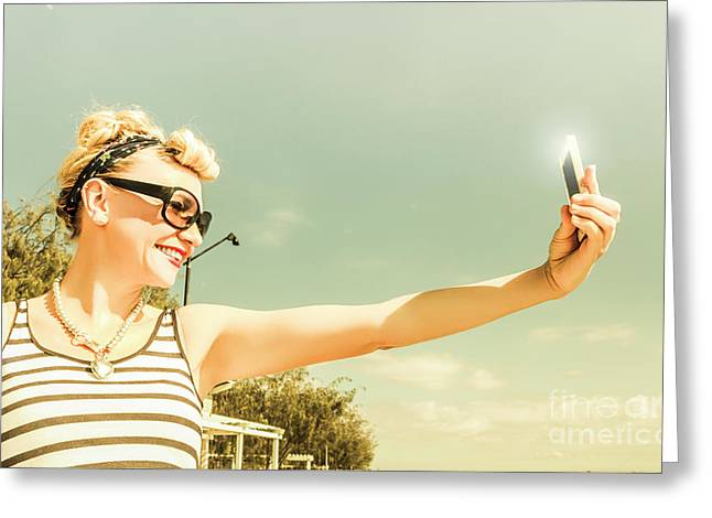 Technology Savy Female Hipster Greeting Card