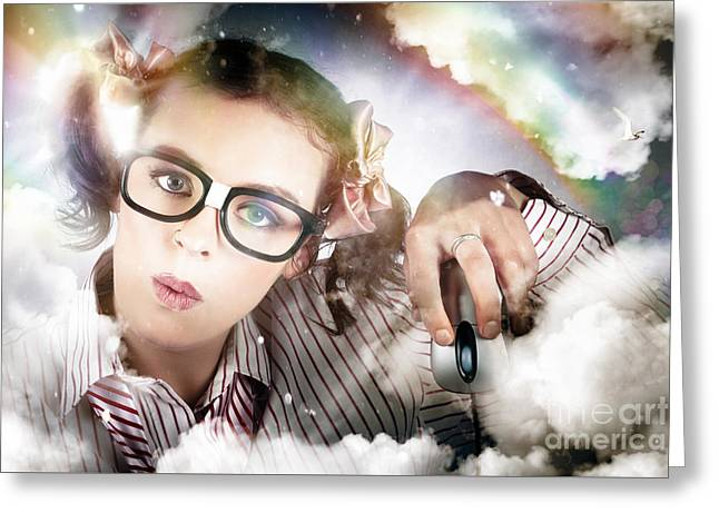 Technology Smart Woman Using Cloud Computing Greeting Card by Jorgo Photography - Wall Art Gallery