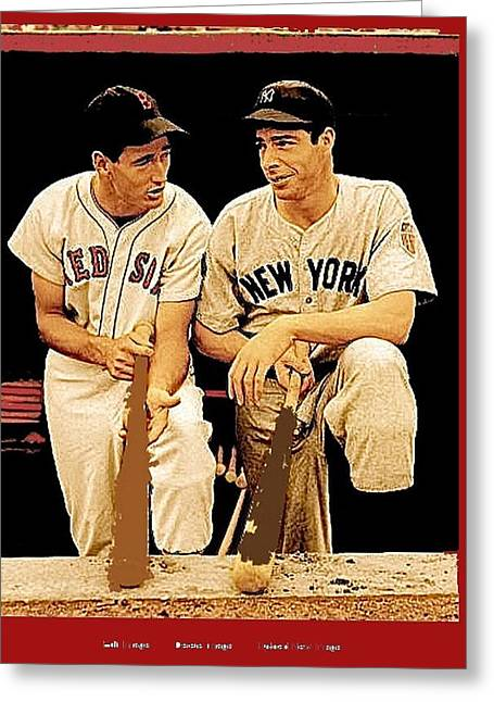 Ted Williams Joe Dimaggio All Star Game 1946 Greeting Card by David Lee Guss