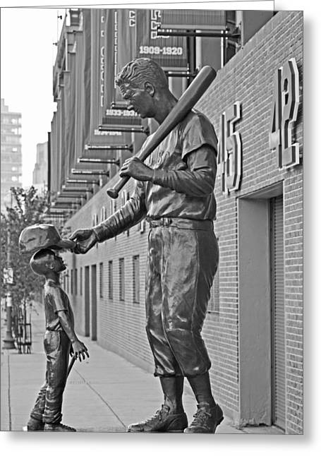 Ted Williams Statue Boston Ma Fenway Park Black And White Greeting Card by Toby McGuire