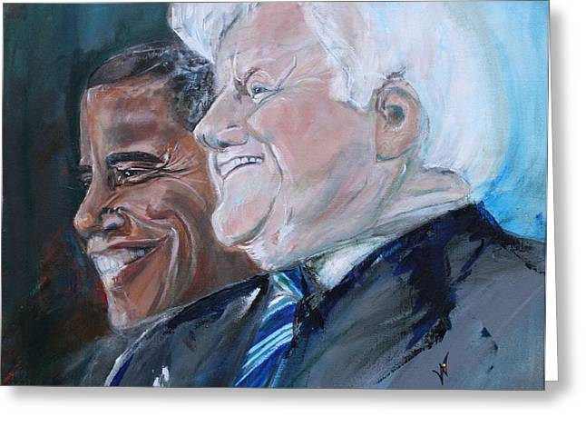Teddy And Barack Greeting Card by Valerie Wolf