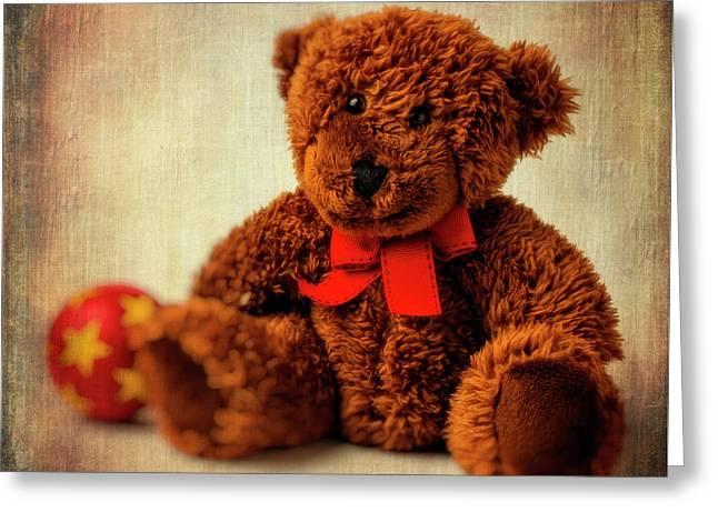 Teddy Bear And Ball Greeting Card by Garry Gay