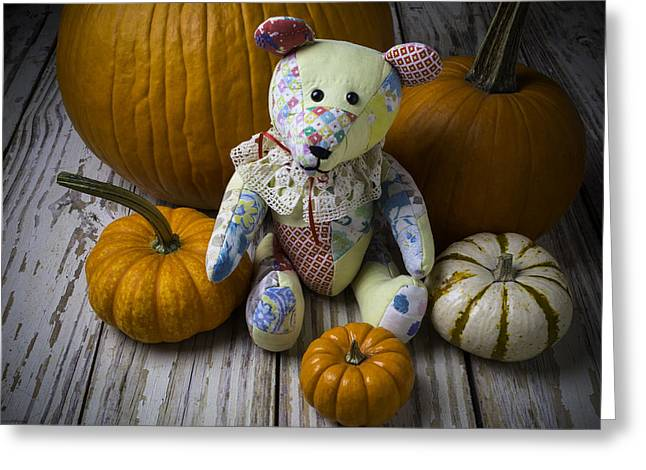 Teddy Bear And Pumpkins Greeting Card by Garry Gay