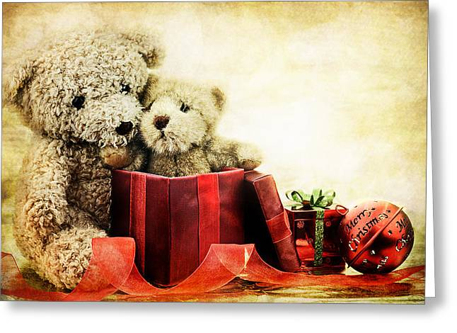 Inside Of Greeting Cards - Teddy Bear Christmas Greeting Card by Stephanie Frey