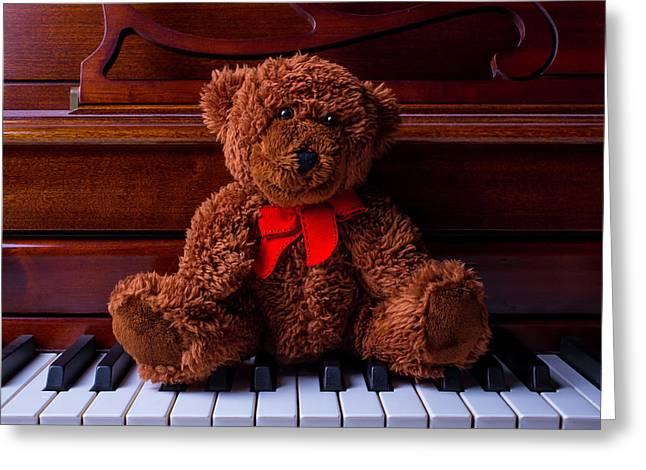 Teddy Bear On Piano Keys Greeting Card by Garry Gay
