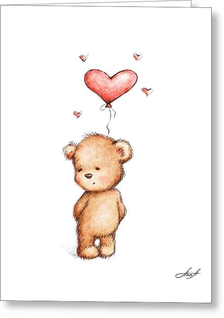 Teddy Bear With Heart Balloon Greeting Card by Anna Abramska