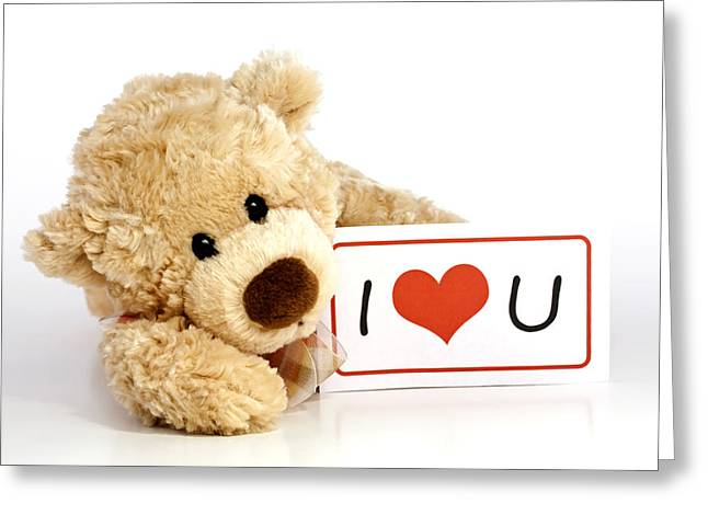 Texting Photographs Greeting Cards - Teddy bear with I Love You Sign Greeting Card by Blink Images