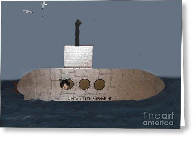 Teddy In Submarine Greeting Card by Reb Frost