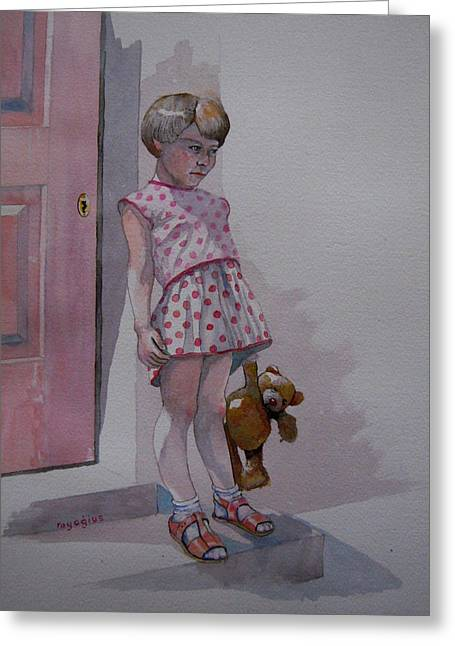 Teddy Greeting Card by Ray Agius