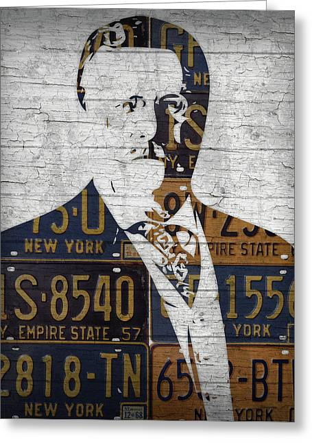 Teddy Roosevelt Presidential Portrait Made Using Vintage New York License Plates Greeting Card by Design Turnpike