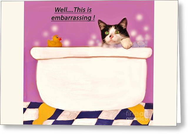 Teddy The Ninja Cat Up Close And Personal Greeting Card by Reb Frost