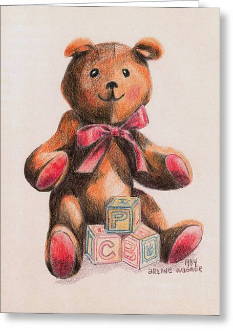 Child Toy Drawings Greeting Cards - Teddy With Blocks Greeting Card by Arline Wagner