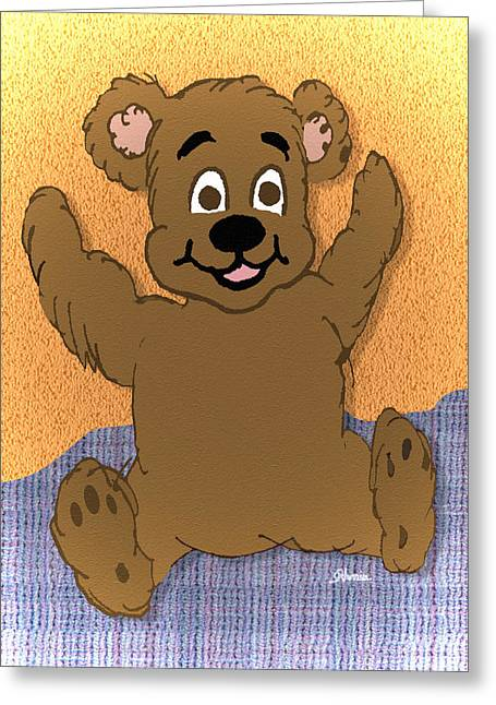 Teddy's First Portrait Greeting Card by Pharris Art