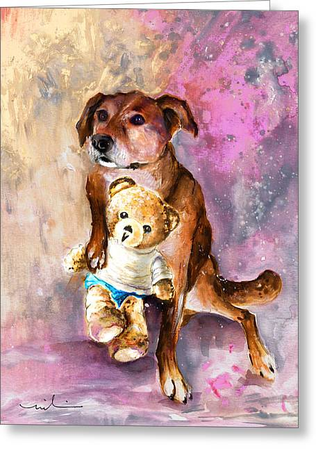 Teddy Bear Caramel And Dog Douchka Greeting Card by Miki De Goodaboom