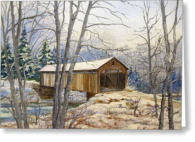 Teegarden Covered Bridge In Winter Greeting Card by Lois Mountz