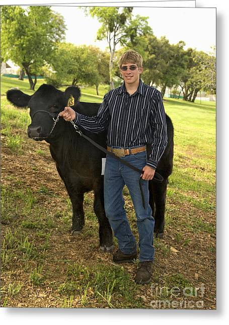 Teen And Black Angus Steer Greeting Card