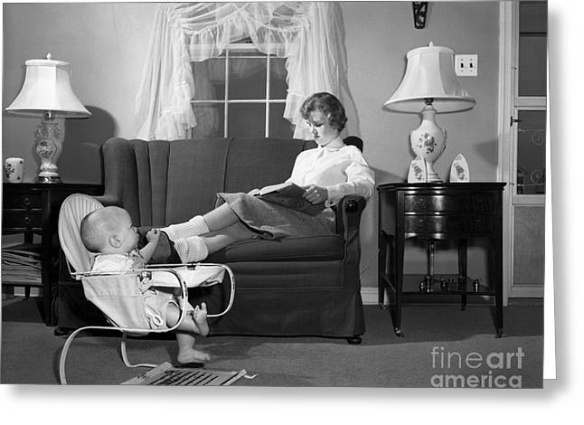 Teen Babysitter And Baby, C.1950s Greeting Card by H. Armstrong Roberts/ClassicStock