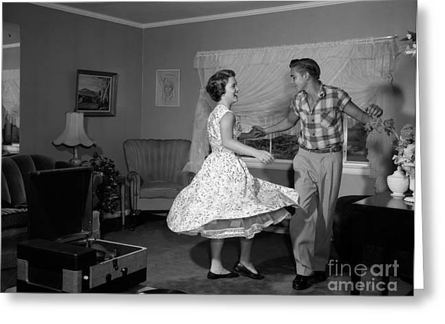 Teen Couple Dancing, C.1950-60s Greeting Card by Debrocke/ClassicStock