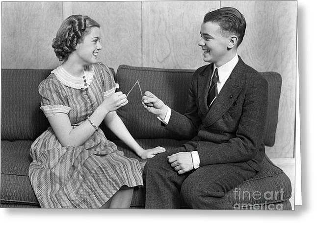 Teen Couple Pulling Wishbone, C.1930s Greeting Card