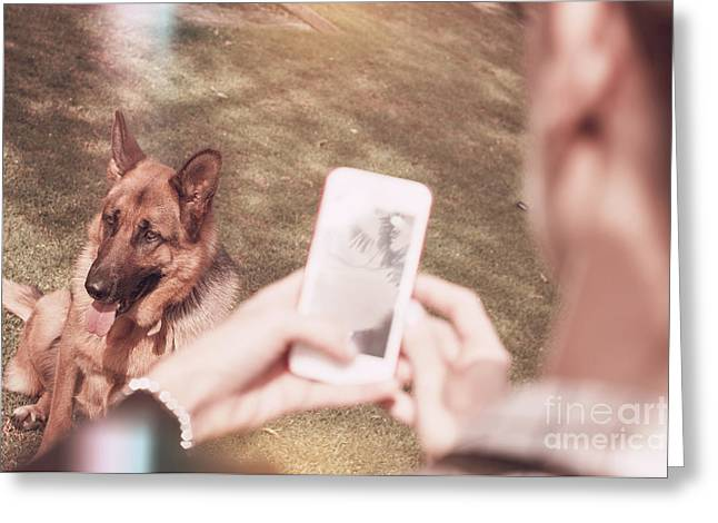 Teen Girl Taking Photo Of Dog With Smartphone Greeting Card