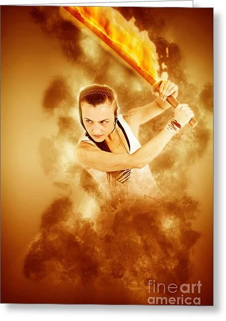 Young Punk Teen Girl Wielding A Flaming Sword  Greeting Card by Ilan Rosen