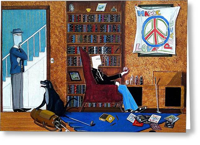 Teen Sitting In Chair Enjoying A Brandy In Father's Den Greeting Card by John Lyes