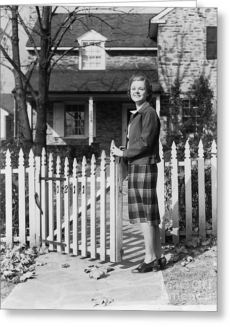 Teenage Girl Arriving Home, C.1940s Greeting Card by H. Armstrong Roberts/ClassicStock