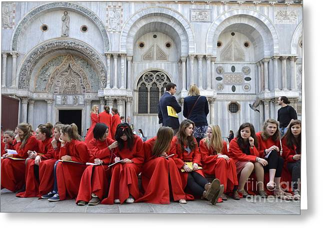 Teenager Girls From A Uk Choral Group Waiting Outside St Mark Basilica In Venice Greeting Card by Sami Sarkis
