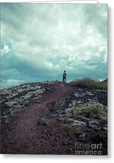 Greeting Card featuring the photograph Teenager On A Hiking Trail In Iceland by Edward Fielding