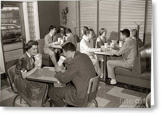 Teens At A Diner, C. 1950s Greeting Card by H. Armstrong Roberts/ClassicStock