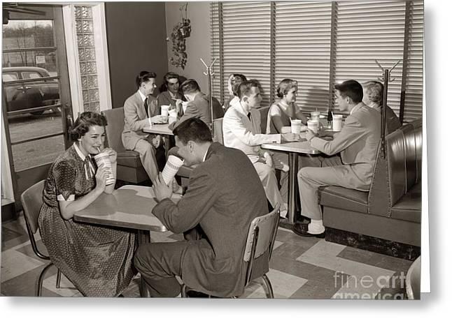 Teens At A Diner, C. 1950s Greeting Card