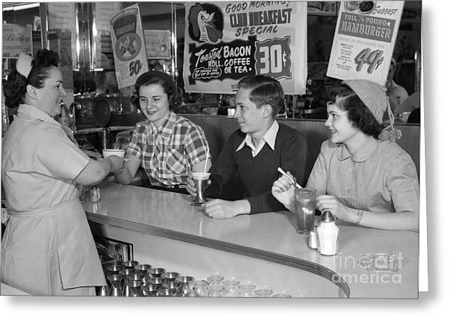 Teens At A Diner, C.1950s Greeting Card