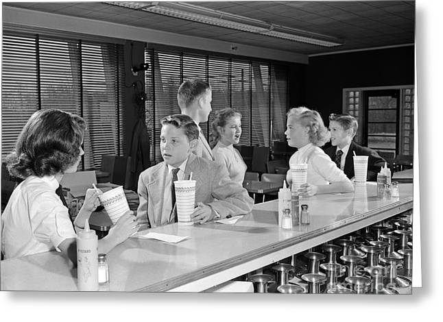 Teens At Soda Fountain, C.1950s Greeting Card by H. Armstrong Roberts/ClassicStock
