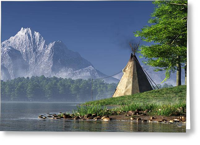 Teepee By A Lake Greeting Card by Daniel Eskridge