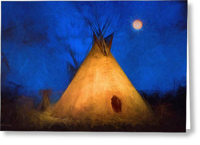Teepee In Moonlight Greeting Card
