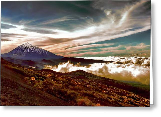 Teide Volcano - Rolling Sea Of Clouds At Sunset Greeting Card by Menega Sabidussi