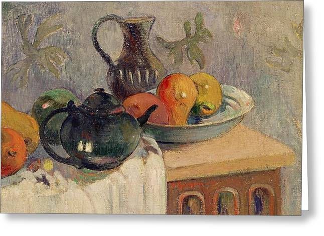 Teiera Brocca E Frutta Greeting Card by Paul Gauguin