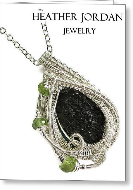 Tektite Meteorite Impactite Pendant In Sterling Silver With Peridot Tktss6 Greeting Card by Heather Jordan