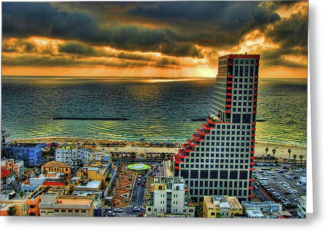 Greeting Card featuring the photograph Tel Aviv Lego by Ron Shoshani