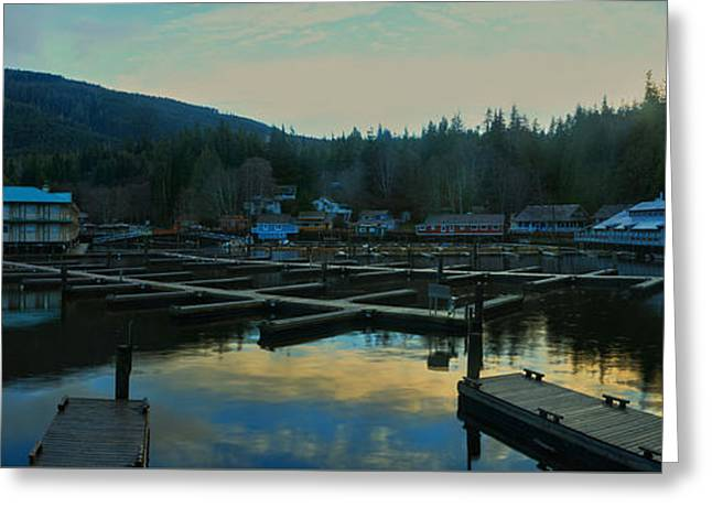 Telegraph Cove Bc Panorama Greeting Card by Adam Jewell